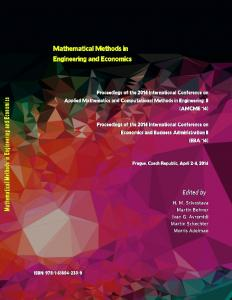 MATHEMATICAL METHODS in ENGINEERING and ECONOMICS