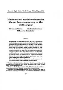 Mathematical model to determine the surface stress acting on the tooth of gear