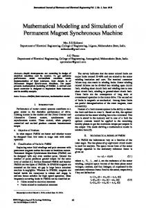 Mathematical Modeling and Simulation of Permanent Magnet Synchronous Machine