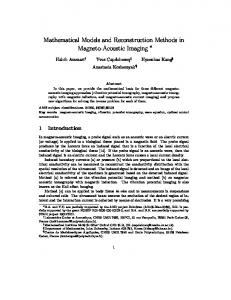 Mathematical Models and Reconstruction Methods in Magneto-Acoustic Imaging