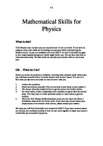 Mathematical Skills for Physics