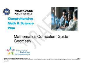 Mathematics Curriculum Guide Geometry
