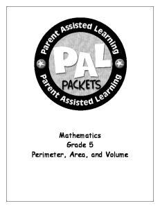 Mathematics Grade 5 Perimeter, Area, and Volume