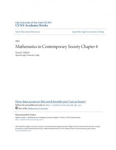 Mathematics in Contemporary Society Chapter 4