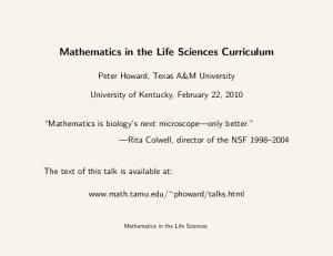Mathematics in the Life Sciences Curriculum