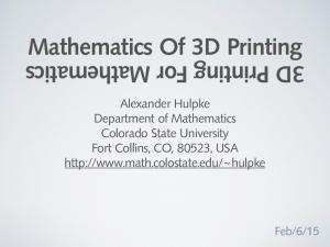 Mathematics Of 3D Printing 3D Printing For Mathematics
