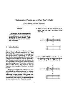 Mathematics, Physics and A Hard Day s Night