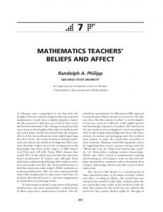 MATHEMATICS TEACHERS BELIEFS AND AFFECT