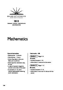 Mathematics. Total marks 100