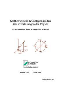 Mathematische Grundlagen zu den Grundvorlesungen der Physik