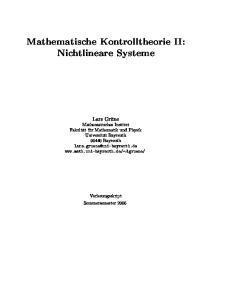 Mathematische Kontrolltheorie II: Nichtlineare Systeme
