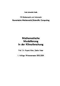 Mathematische Modellierung in der Klimaforschung