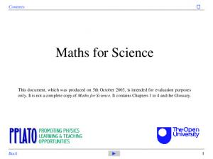Maths for Science. Contents