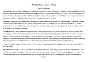 Maths Scheme Junior Infants