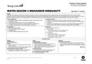 Maths Session 1: measuring inequality