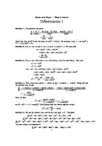 Maths with Maple Week 5 tutorial. Differentiation 1. dx ln(x) ln(x) 2. = 2x ln(x) x2.x 1. ln(x) x