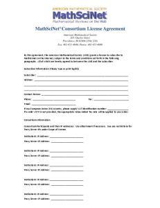 MathSciNet Consortium License Agreement