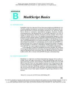 MathScript Basics APPENDIX B.1 INTRODUCTION B.2 WHAT IS MATHSCRIPT?