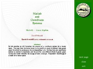 Matlab and Coordinate Systems