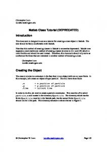 Matlab Class Tutorial (DEPRECATED)