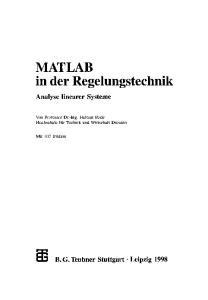 MATLAB in der Regelungstechnik