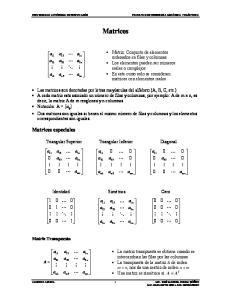 Matrices. Matrices especiales
