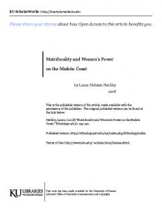 Matrifocality and Women s Power. on the Miskito Coast