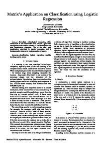 Matrix s Application on Classification using Logistic Regression