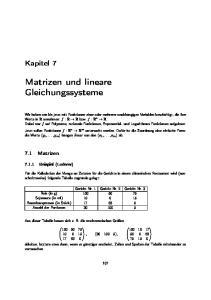 Matrizen und lineare Gleichungssysteme