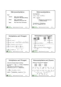 Matrizenmultiplikation. Matrizenmultiplikation. Multiplikation nach Winograd. Multiplikation nach Winograd. Multiplikation nach Winograd