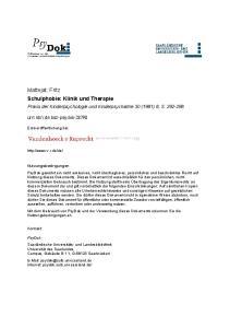 Mattejat, Fritz Schulphobie: Klinik und Therapie