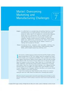 Mattel: Overcoming Marketing and Manufacturing Challenges 7