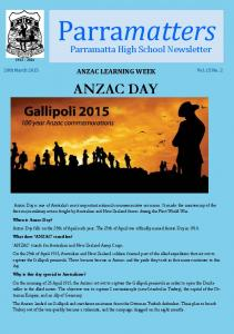 matters ANZAC DAY Parramatta High School Newsletter ANZAC LEARNING WEEK 20th March 2015 Vol. 15 No. 2
