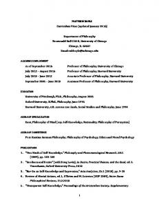 MATTHEW BOYLE Curriculum Vitae (updated January 2016)