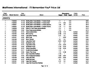 Matthews International - I'll Remember You Price List