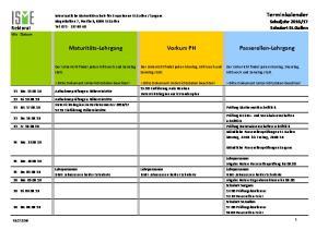 Maturitäts- Lehrgang Vorkurs PH Passerellen- Lehrgang