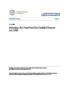 Mauritius: the Trust Fund for Disabled Persons Act 1988
