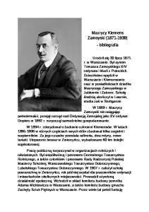 Maurycy Klemens Zamoyski ( ) - bibliografia