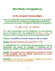 Max Planck y la Segunda Ley