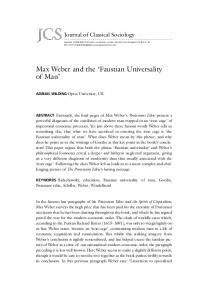 Max Weber and the Faustian Universality of Man