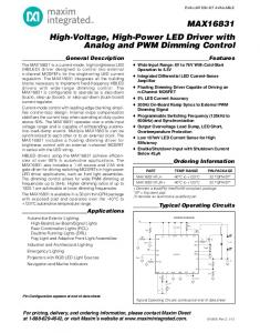 MAX16831 High-Voltage, High-Power LED Driver with Analog and PWM Dimming Control