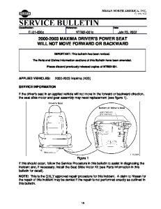 MAXIMA DRIVER'S POWER SEAT WILL NOT MOVE FORWARD OR BACKWARD