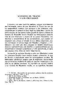MAXIMINO EL TRACIO Y LOS CRISTIANOS
