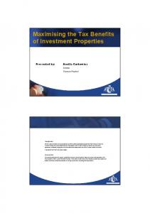 Maximising the Tax Benefits of Investment Properties