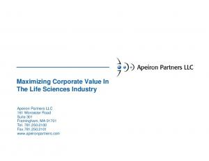 Maximizing Corporate Value In The Life Sciences Industry
