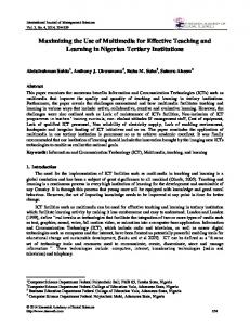 Maximizing the Use of Multimedia for Effective Teaching and Learning in Nigerian Tertiary Institutions
