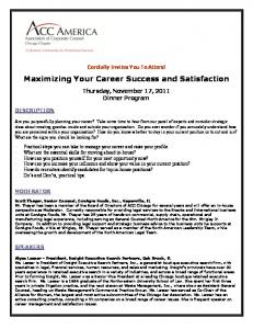 Maximizing Your Career Success and Satisfaction