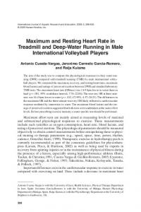 Maximum and Resting Heart Rate in Treadmill and Deep-Water Running in Male International Volleyball Players