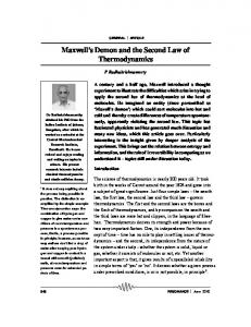Maxwell s Demon and the Second Law of Thermodynamics