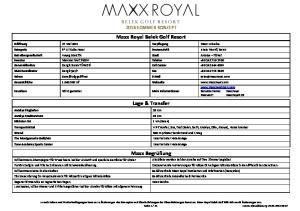 Maxx Royal Belek Golf Resort. Lage & Transfer. Maxx Begrüßung